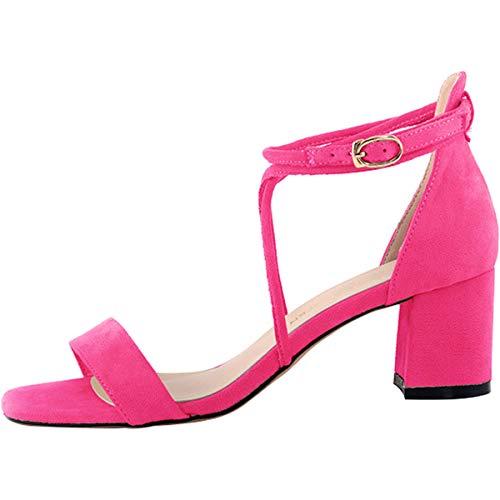 Soirée Daim Talon Talons Ouverte A Bloc Escarpins Chaussures Haut Eclair Sandales Rose Bureau Mode Femme Cheville Été Bride Wealsex Fermeture AxgBz4
