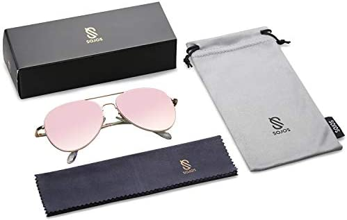 SOJOS Classic Aviator Sunglasses for Women Men Mirrored UV400 Lens Vintage Metal Frame SJ1030