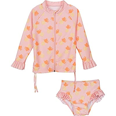 SwimZip Little Girl Zipper long Sleeve Orange Rash Guard 2 Piece Swimsuit Set Sweet Pineapple