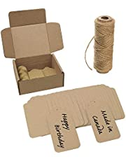 """EnviroTag - Kraft Paper Gift Tag - 100 PCS - Size: 4"""" x 2"""" - Kraft made of Recycled Paper - Die Cut Shape - Spool of 100 feet of Natural Jute Twine - Ideal for Christmas and Birthday Gift - Eco-friendly Tags"""