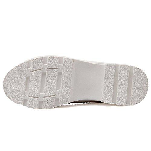 COOLCEPT Mujer Moda sin Cordones Boca Baja Zapatos Cerrado Toe Bombas Dulce Zapatos Bowknot Blanco