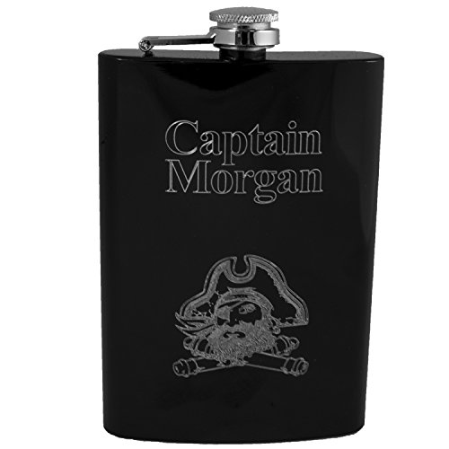 8oz Black Captain Morgan Flask