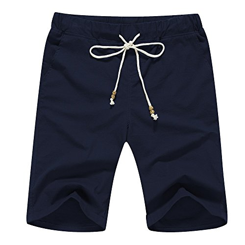 Janmid Men's Linen Casual Classic Fit Short Navy Blue ()