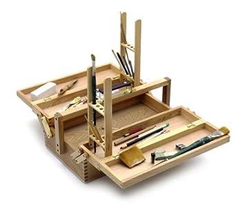 Artina Cassetta professionale porta-accessori Vienne-supporto pennelli integrato - valigetta artisti in legno di faggio