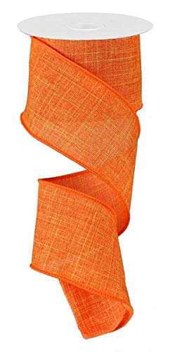 Solid Canvas Wired Edge Ribbon, 10 Yards (Orange, 2.5
