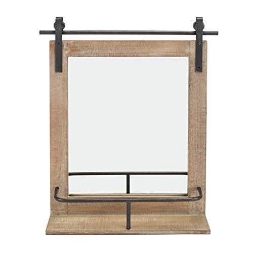 Danya B. Rustic Industrial Wood-Framed Wall Mount Barn Door Vanity Mirror with -