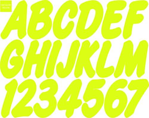 Stiffie WhipOne Day GLO - Adhesivos para números de identificación de Alpha de 7,62 cm para Barcos hinchables, Barcos,...