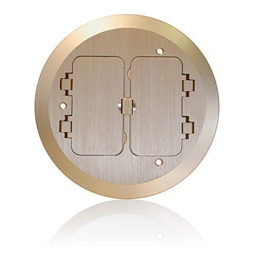 Leviton FBC2F-B Concrete Floor Box Brass Cover Plate, 2 Decora Flip Lids