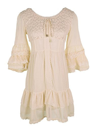 Country Girl Dress Peasant - Anna-Kaci Womens Boho Peasant Floral Lace Ruffle Hem Bell Sleeve Mini Dress, Beige, Medium