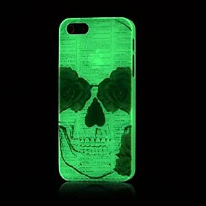 YULIN cráneo patrón resplandor en el caso duro oscuro para el iphone 5 / 5s