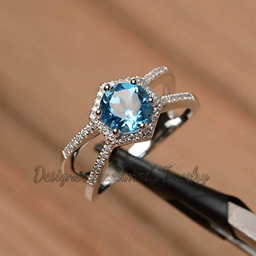 (HEXAGON DESIGNER DOUBLE BAND RING AAA CUT SWISS BLUE TOPAZ NATURAL WEDDING RING WOMENS SILVER JEWELRY DESIGNER DAINTY HALO RING 925 SILVER CZ DIAMOND GIRLS ENGAGEMENT RING)