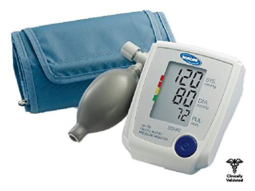 LifeSource Manual Inflation Upper Arm Blood Pressure Monitor with Automatic Digital Reading, Medium Cuff (UA-705V) (Things Not To Eat With High Blood Pressure)