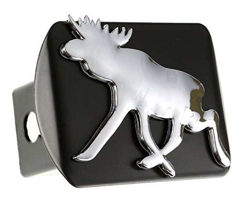 Moose 3d Chrome Emblem on Black Trailer Metal Hitch Cover Fits 2