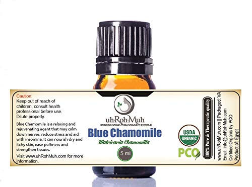 Certified Organic Blue Chamomile Essential Oil || USDA Certified Organic German Chamomile Essential Oil || Blue Chamomile Essential Oil Organic || Blue German Chamomile Essential Oil Organic (5 ml)