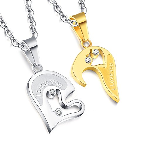 [Areke Mens Womens Couples Heart Love Necklace,Stainless Steel Puzzle Diamond Pendant Chain Necklaces Color Silver Gold] (Bulls 24k Gold Coin)