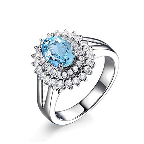 Adisaer Mom'S 925 Sterling Silver Plated Ring, Eternity Wedding Band WH 7X9Mm Round Blue Topaz Ring Size 5.5