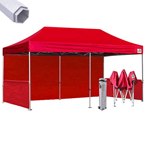 (Eurmax Premium 10 X 20 Pop up Canopy, Event Canopy, Market Stall Canopy Booth Portable Exhibition Booth Trade Show Display Outdoor Canopy Bonus: Four (4) Weight Bags+Roller Bag (Red))