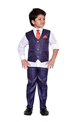 AJ Dezines Kids Indian Party Wear Bollywood Style Clothing Set for Boys (714-RED-BLUE-14)