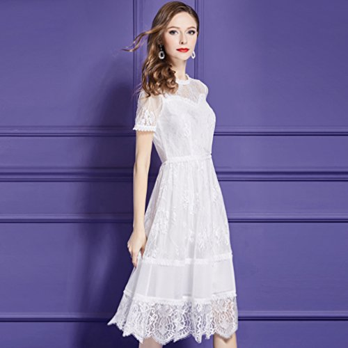 Short line Dress White Women`s Scoop Sleeve Dresses cotyledon Neck A qTHXxwqB