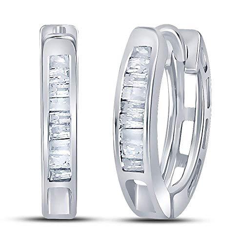 The Diamond Deal Sterling Silver Womens Baguette Diamond Huggie Earrings 1/8 Cttw