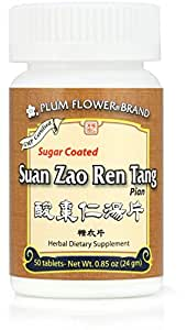 Suan Zao Ren Tang Pian, Sugar Coated, 50 Tablets, Plum Flower