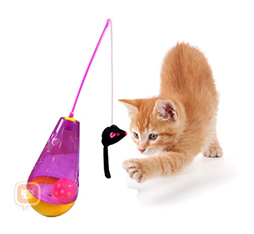 (Purrfect Feline Wacky Tumbler - Premium Interactive Cat Toy, Tumbler, Swatter Wand Game, Twitch & Flee, Exerciser, Teaser, Safe, Active Healthy Lifestyle, Suitable for Multiple Cats)