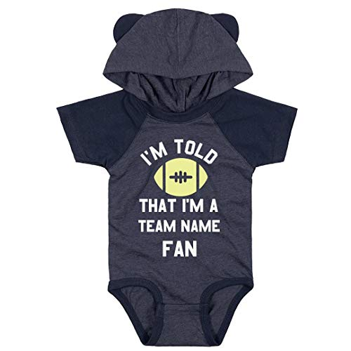 (Custom Text & Art Baby Bodysuit Sports Fan: Infant Hooded Raglan Bodysuit with Ears)