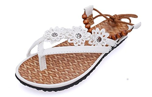talón plano de las sandalias de las mujeres moldeadas flores del cordón de las sandalias planas de diamantes de imitación tanga White