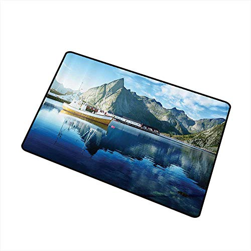 Jbgzzm Non-Slip Door mat Farm House Decor Sunset in Norwegian Lake by Fjords Formation Yacht Fishing Arctic Harbor Island W30 xL39 Indoor Outdoor, Waterproof, Easy Clean Blue]()
