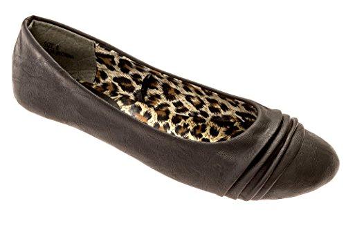 Charles Albert Womens Plooi Ballet Plat Met Leopard Binnenzool Zwart