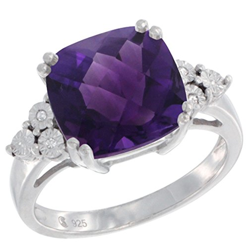 - Sterling Silver Natural Amethyst Ring Cushion cut 11x11, Diamond Accent, size 10