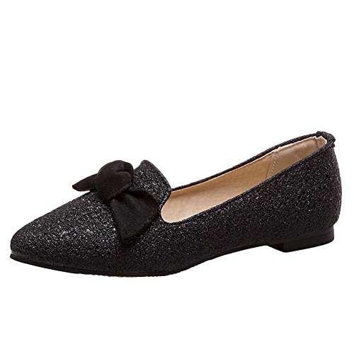 Carolbar Women's Bling Bling Lovely Bow Flat Sequins Loafer Court Shoes Black a5PG9Fy