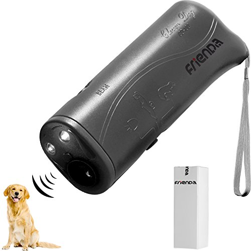 (Frienda LED Ultrasonic Dog Repeller and Trainer Device 3 in 1 Anti Barking Stop Bark Handheld Dog Training Device (Gray))