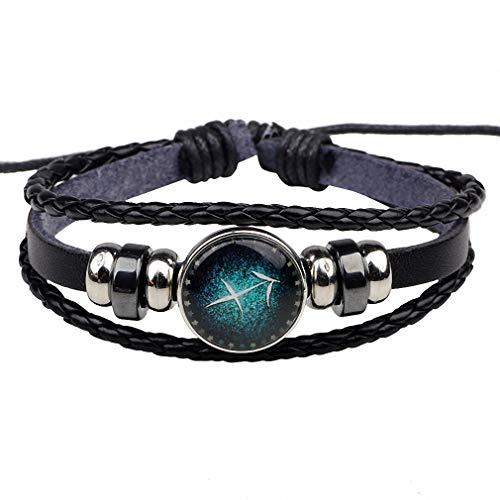 Giwotu Womens 12 Constellation Zodiac Signs Bracelet Mens Bracelets Beaded Handmade Charm Leather Bracelet Punk Rock Men Jewelry Sagittarius