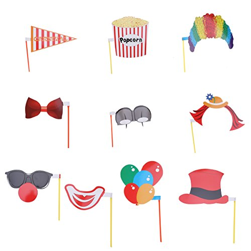 LUOEM Carnival Photo Booth Props Clown Cosplay Party Dress-up Accessories DIY Pose Sign Kit,Pack of 10 -