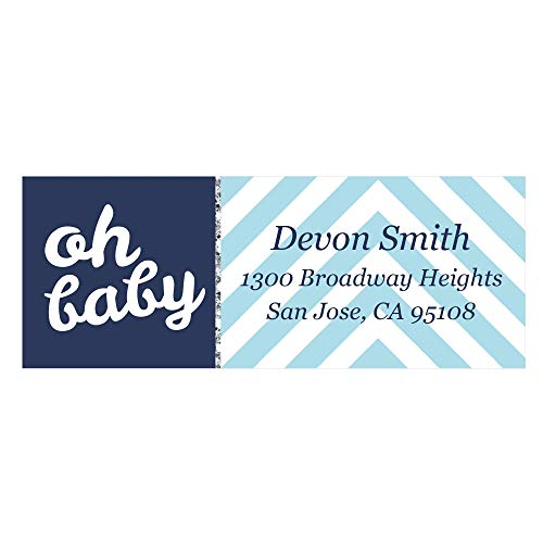 - Custom Hello Little One - Blue and Silver - Personalized Boy Baby Shower Return Address Labels - Set of 30