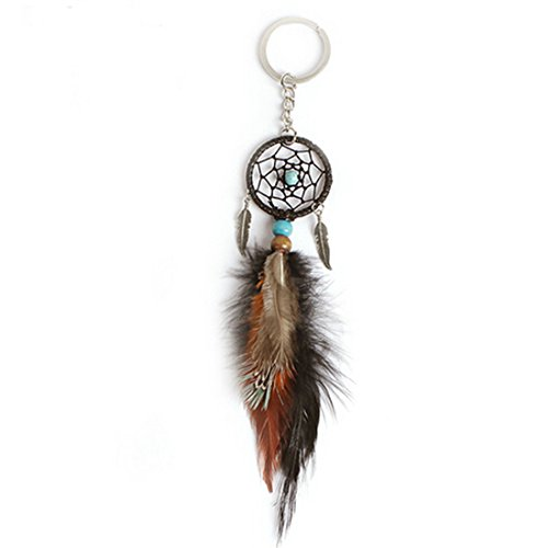 Little Chair Feather Leaf Beads Dream Catcher Keychains Keyrings Bag Hanging (Bead Dreamcatcher)