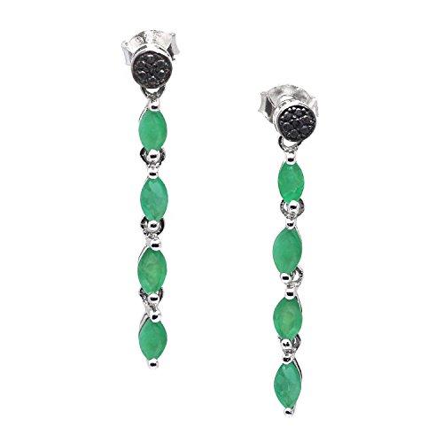 Silver Genuine Emerald Earrings (De Buman Sterling Silver Genuine Emerald and Black Diamond Earrings)