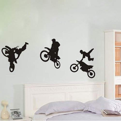 ColorfulHall 29.52 x 23.62 Youngster Motorcycle Racer Tricks Dirt Bike Motocross Stunt Motorcycles Wall Decal Freestyle Motorcross wall sticker
