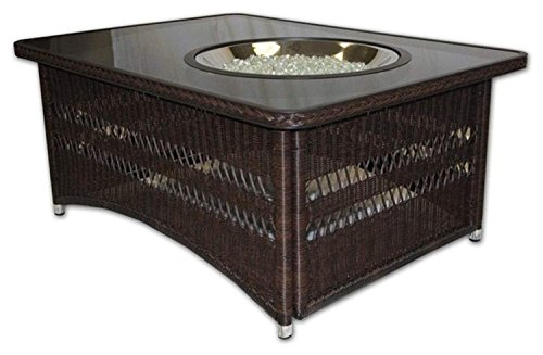The Outdoor GreatRoom Company Resin Wicker Fire Pit Table In Balsam - Resin wicker fire pit table