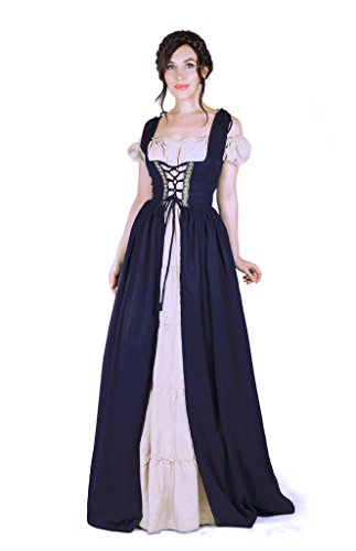 Renaissance Medieval Irish Costume Over Dress & Boho Chemise Set (S/M, -