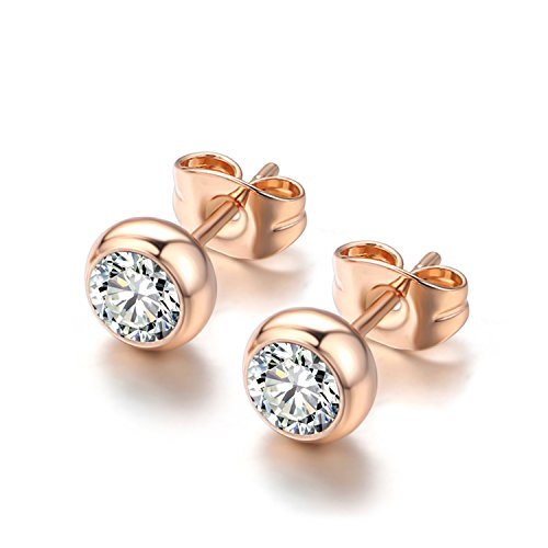 Top Quality ZYE496 OL Style Concise Crystal Rose Gold ColorStud Earrings Jewelry Austrian Crystal Wholesale Clear