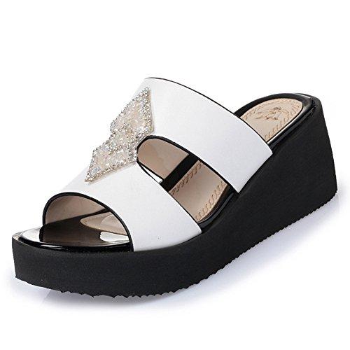 Btrada Mujeres Fashion Wedge Sandals Thick Bottom Slip Slip Slip Blanco