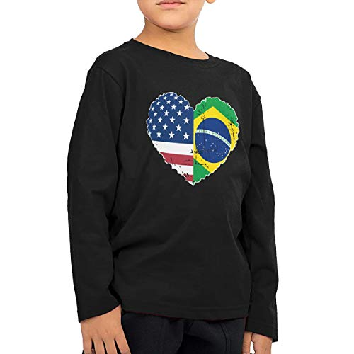 - CERTONGCXTS Children's Brazil USA Flag Heart ComfortSoft Long Sleeve T-Shirt