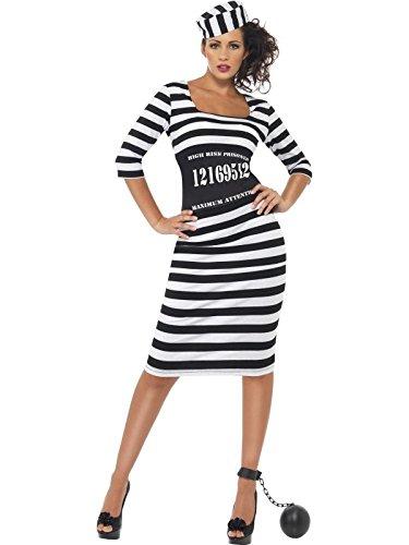 Smiffys Women's White/Black Classy Convict Costume -US Dress (Black And White Robber Costume)