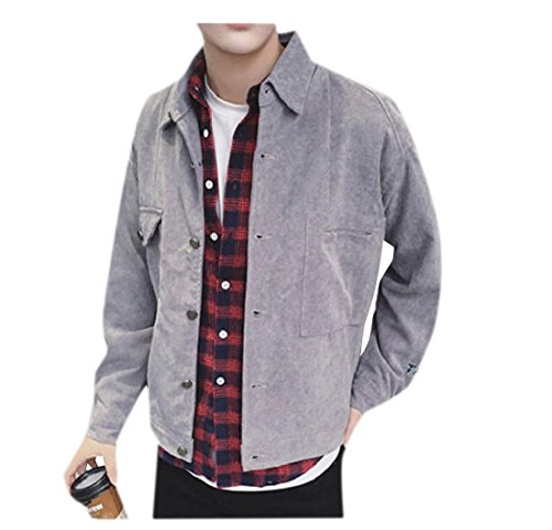Jacket Coat Doufine Tops Men Lapel Bomber Buckle Grey Outwear Bomber Jacket qERf7