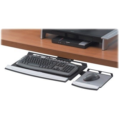 Lock Keyboard Tray System - Fellowesamp;reg; - Office Suites Adjustable Keyboard Manager, 21-1/4 x 10, Black/Silver - Sold As 1 Each - Single knob adjusts height and tilt of keyboard tray and locks settings in place.