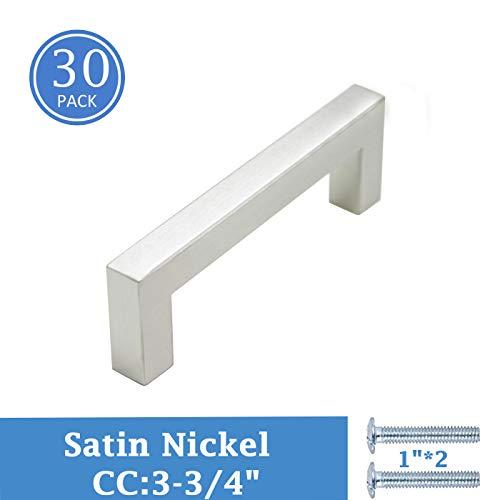 (Satin Nickel Cabinet Pulls 30 Pack, 3-3/4