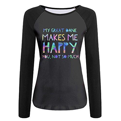Dead Womens Raglan Hoodie - BBlocks Great Dane Makes Me Happy Women's Printing Raglan Long Sleeve Tops Sweatshirt T-Shirt M