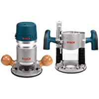 Bosch 1617EVSPK Wood Router Tool Combo Kit – 2.25 Horsepower Plunge Router & Fixed Base Router Kit with a Variable Speed 12 Amp Motor
